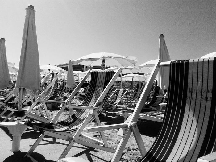 Sea Sky Summertime Tranquility No People Black And White Ombrelloni Sand Summer 2016 Salento Puglia Beach Photography Beach Life