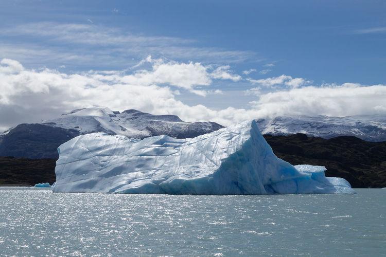 Scenic view of iceberg on lake