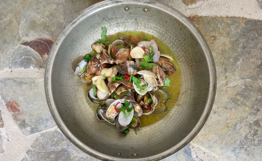 Directly above shot of clams in bowl