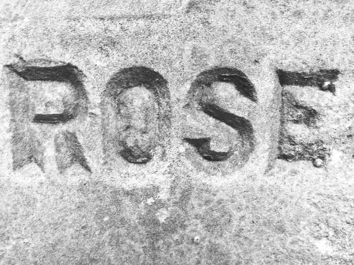 Full Frame No People Letters Western Script Rosé Word Stone Carved Victorian Part Of Black And White Black And White Friday