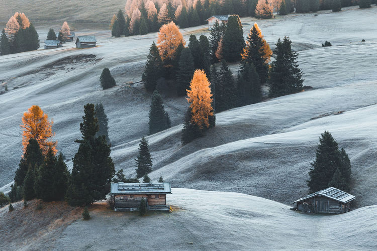 Scenic view of houses on land during winter