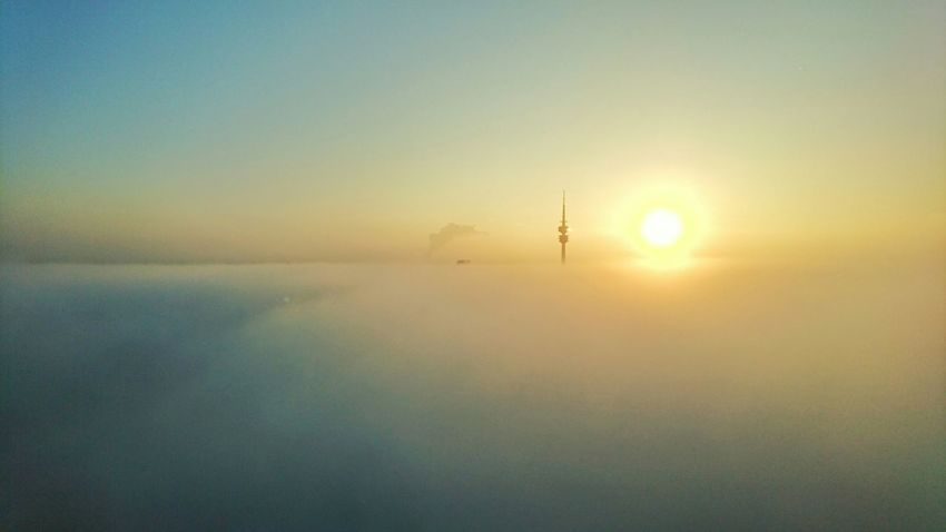 Working Taking Photos Sunrise Good Moring Olympiaturm Clouds And Sky Foggy Morning Sony Xperia Z5 Office View HBoB Officeview