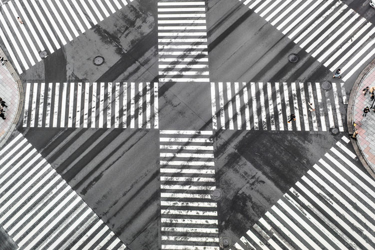 High angle view of office crossing sign