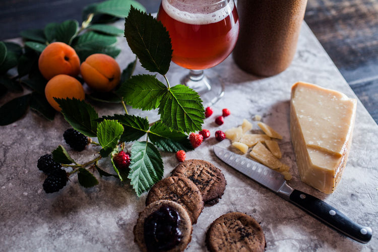 Alcohol Berry Fruit Bread Breakfast Close-up Drink Drinking Glass Food Food And Drink Freshness Fruit Glass Healthy Eating Household Equipment Indoors  Leaf No People Plant Part Refreshment Table Wellbeing