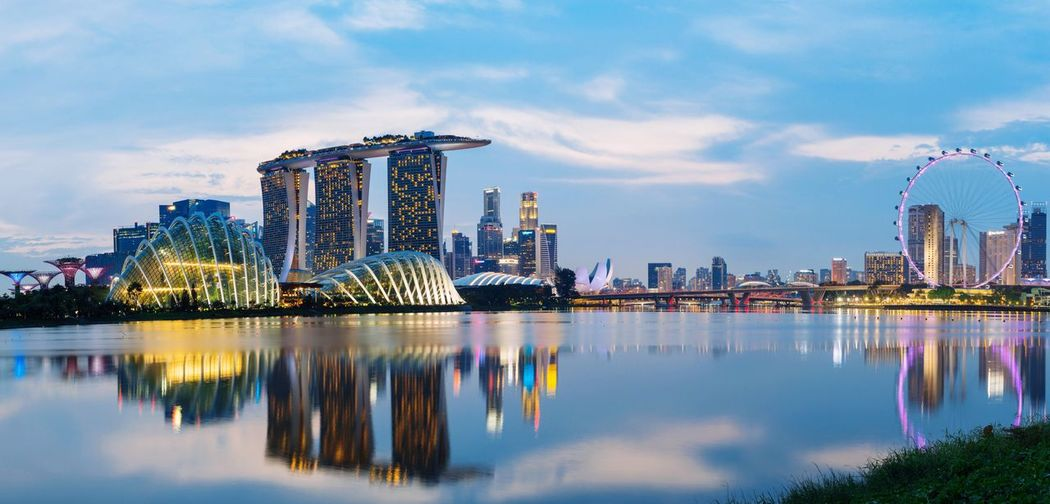 Panorama view of marina bay sand, garden by the bay, Singapore flyer and downtown with the reflection in blue sky Landmark Outdoor Garden Panorama Reflection Bay City Building Marina Flyer Singapore Landscape Architecture Built Structure Building Exterior Reflection City Sky Building Water Modern Nature Skyscraper Office Building Exterior Tall - High Waterfront Landscape Travel Destinations Amusement Park Cityscape First Eyeem Photo