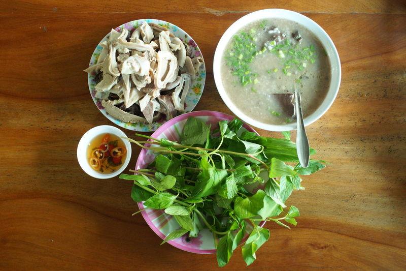 Bowl Chao Chitterling Chitterling Gruel Congee Fish Sauce Food Gruel Pig's Bowels Porridge Plate Porage Pork Pork Porridge Porridge Porrige Rice Rice Porridge Soup Spoon Traditional Vegetable Vegetables Vietnam Vietnamese Food