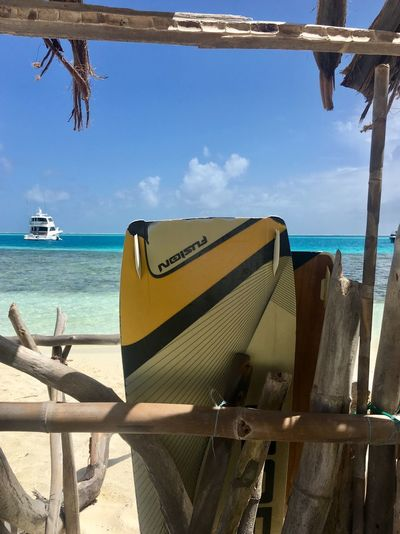 Blue Blue Sky Leisure Activity Carribean Carribean Sea Los Roques, Venezuela Los Roques Kite Boarding Kitesurf Nautical Vessel Sea Mode Of Transport Transportation Beach Boat Day Water Sky Wood - Material Sunlight Outdoors No People Moored Nature