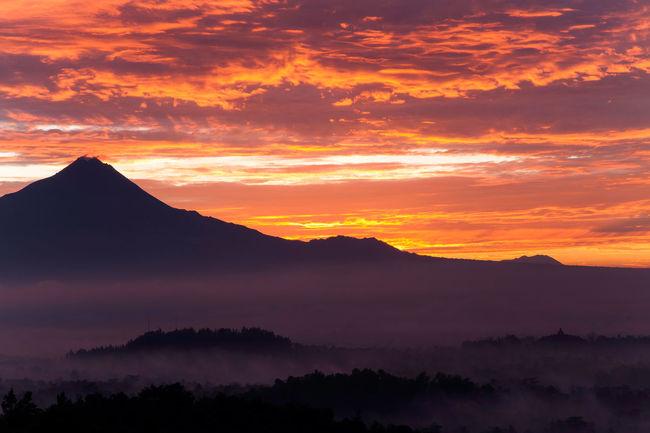 Amazing Sunrise Phenomenon at Punthuk Setumbu Hill Beautiful Borobudur Temple INDONESIA Nature Red Yogyakarta Amazing Landscape Merapi Mountain Sunrise