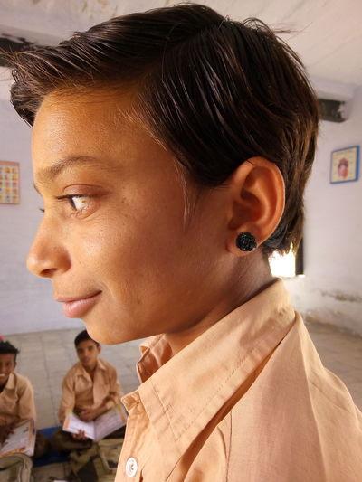 Close-Up Of Boy In School