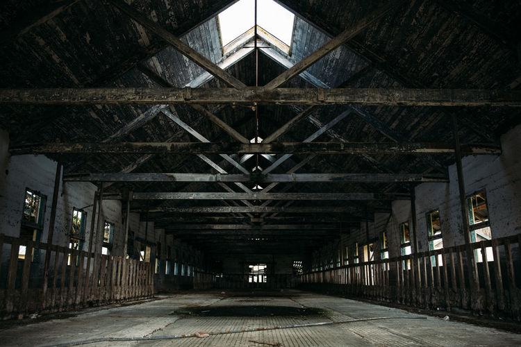 Interior of empty barn