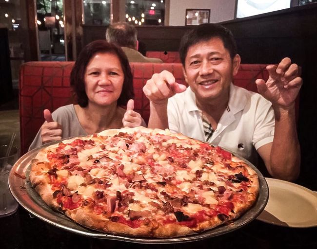ToScanys-Coal Oven Pizza 🍕 Pizza Food And Drink Portrait Looking At Camera Food Smiling Indoors  Moments Of Happiness Real People Adult Restaurant Men Front View People Table Two People Headshot Women Freshness Lifestyles