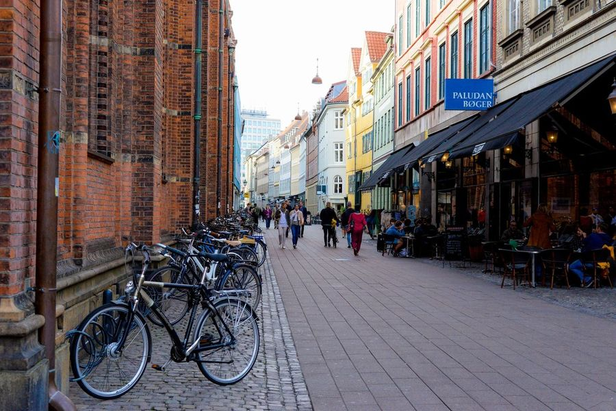 Alley Architecture Bicycle Building Building Exterior Built Structure City City Life City Street Copenhagen Day Diminishing Perspective Lifestyles Narrow Outdoors Parked Parking Residential Building Residential Structure Sky The Way Forward Vanishing Point