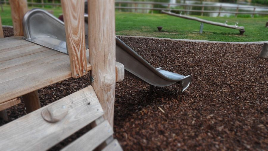 High angle view of slide at playground