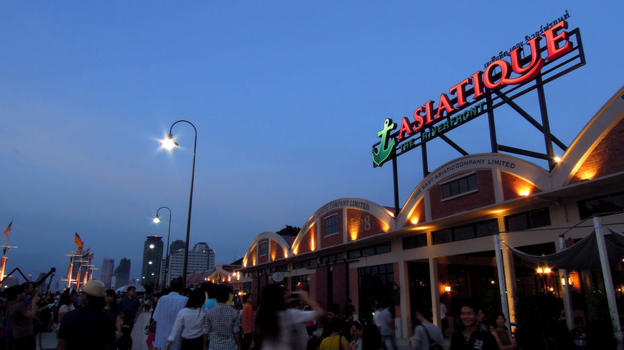 asiatique the river front Asiatique Asiatique The Riverfront Bangkok Blue Evening Low Light Night Outdoors Place Relaxing River Front Shoping Mall Sky Thailand Tourism Travel