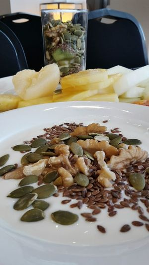 My Favorite Breakfast Moment Yogurth and Sunflower Seeds Flax Seeds Walnuts Fresh Fruits Healthy Food