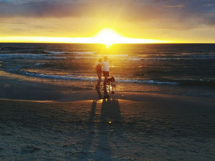 Couple Walking With Dog At Beach Against Cloudy Sky During Sunset