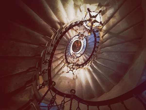 Staircase Steps And Staircases Steps Spiral Railing Architecture Low Angle View Built Structure Spiral Staircase Indoors  No People Illuminated Concentric Day History Cityscape Tranquility Personal Perspective Beautiful Travel Destinations Stairs Indoors  Indoors  Architecture Low Angle View