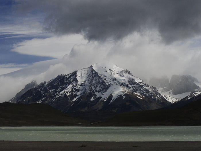 Scenic view of snowcapped mountains against sky, torres del paine mountains, patagonia, chile