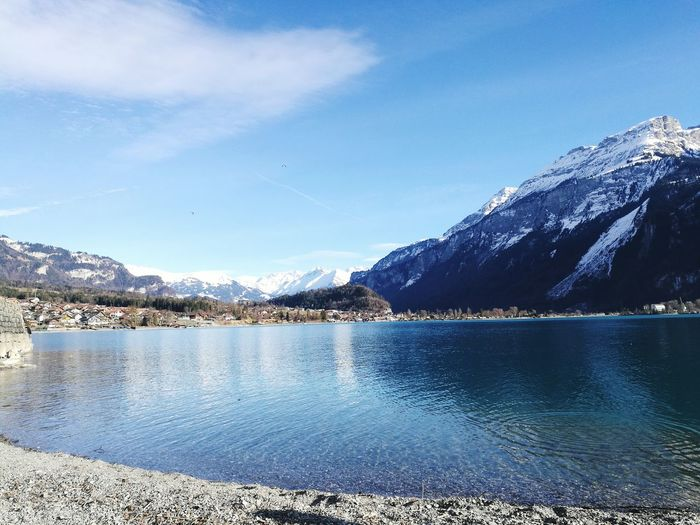 Reflection Mountain Tranquility Sky Water Beauty In Nature Day Nature Lake Brienzersee Brienz Stones Blue