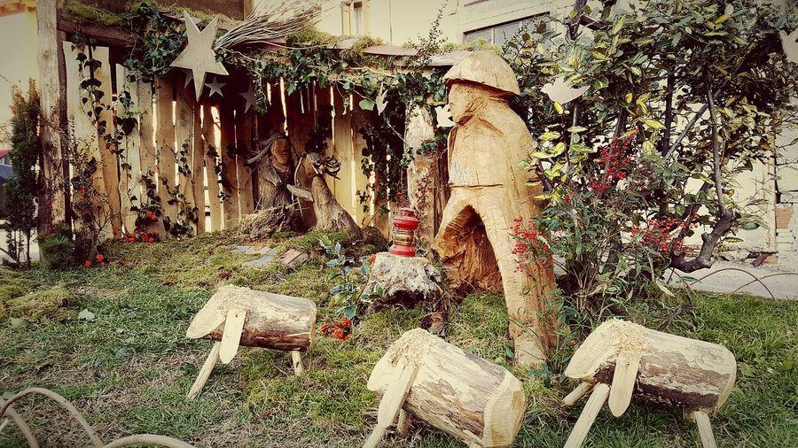 Outdoors Nativity Scene Nativity Christmas Decoration Christmas Time Creativity Wood Wood Art Tranquility Manger