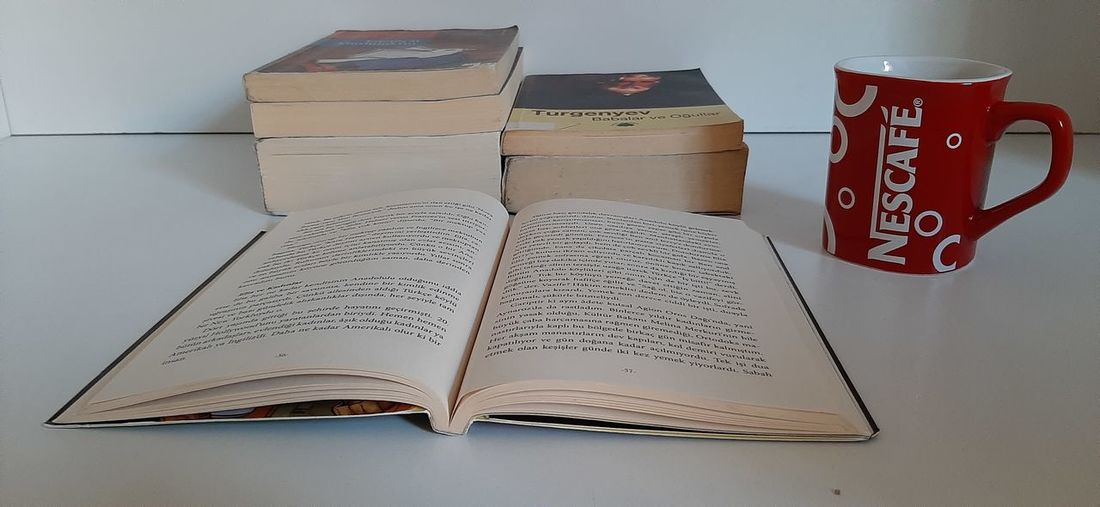 High angle view of text on book at home