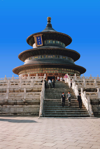 Temple of Heaven - Beijing, China Chinese Culture And History Architecture Real People Sky Blue Spirituality Travel Tourism Day History Outdoors Ancient Steps Clear Sky Dome Temple Of Heaven A Taste Of China Place Of Worship Travel Destinations Ancient Civilization Steps And Staircases Building Exterior Built Structure Beijing China An Eye For Travel