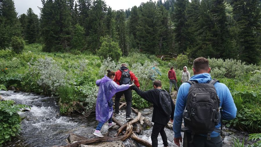 Rear view of people enjoying in river amidst trees in forest