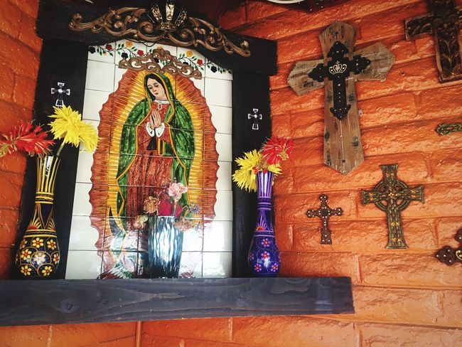 Mexican Culture Religious Art No People Multi Colored Creativity Decoration Art And Craft Built Structure Wall - Building Feature Flowering Plant Wall Hanging Human Representation