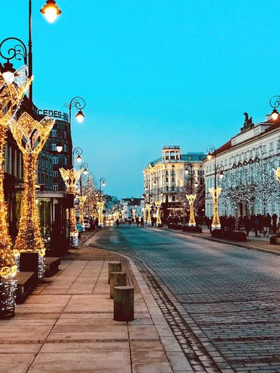 Christmas lights in Warsaw EyeEmNewHere Empty Streets Christmas Lights Built Structure Clear Sky Outdoors No People