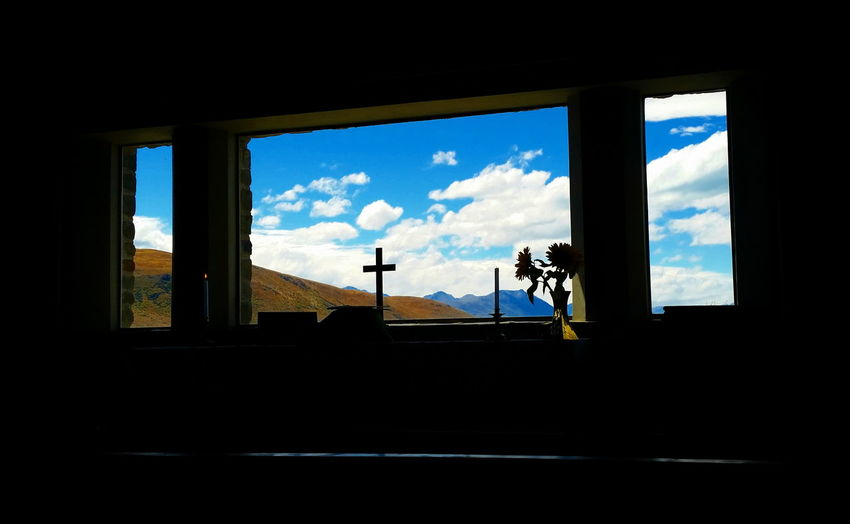 Altar Window Lake Tekapo New Zealand NZ South Island NZ Tourism View Through Chapel Window Cloud - Sky Day Indoors  Silhouette Window