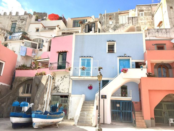 Architecture Built Structure Fishing Boat Fishing Village Light Blue Pitoresque Italian Style Prodica Island Buildings