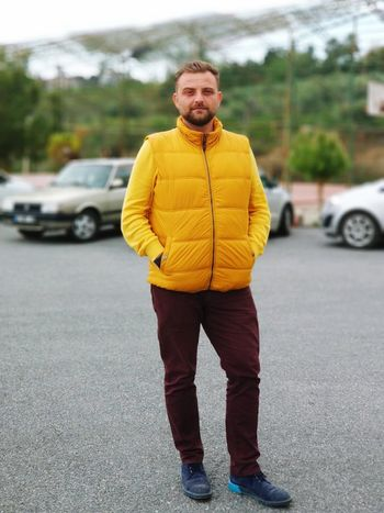 One Person Yellow Standing Men Real People Young Men Transportation Beard Full Length City