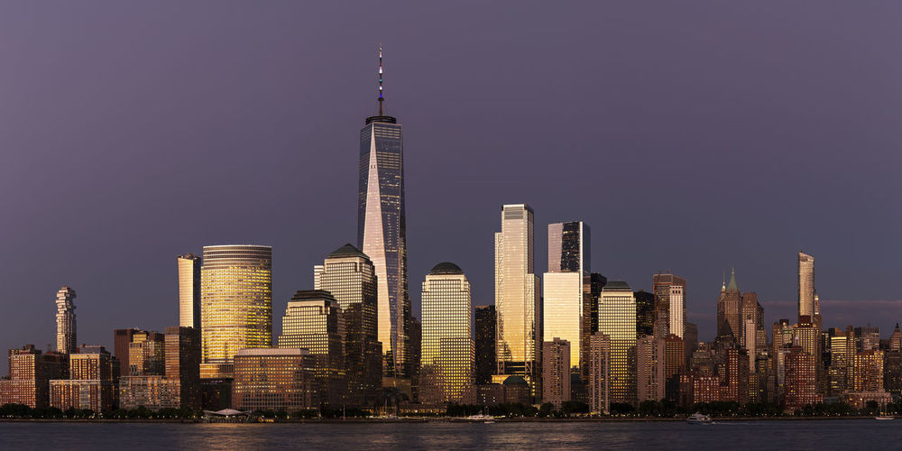 One world trade center by hudson river in city