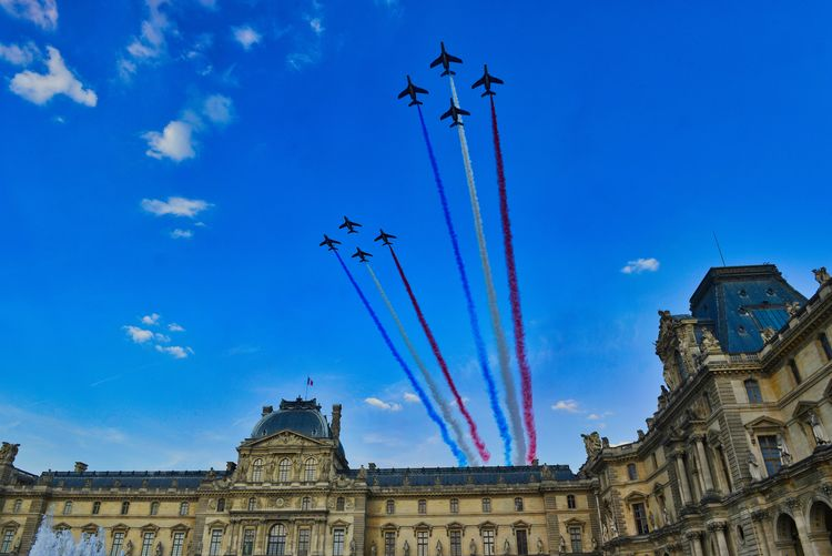Aerospace Industry Air Vehicle Airplane Airshow Architecture Blue Building Exterior Built Structure Cloud - Sky Day Flying Low Angle View Mode Of Transportation Motion Nature No People on the move Outdoors Plane Sky Teamwork Transportation Travel