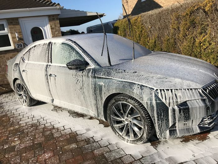 Snow foam car Sky Washing Wash Day Driveway Clean Cleaning Car Outdoors Snow Foam Car Washing Tyre Stationary Transportation Land Vehicle Mode Of Transport Car Outdoors Tire