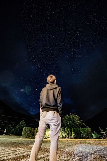Night One Person Casual Clothing Sky Star - Space Standing Outdoors Astronomy One Man Only Nature Adults Only Portrait Adult People Only Men Young Adult Full Length Galaxy From My Point Of View EyeEm Best Shots Travel Destinations