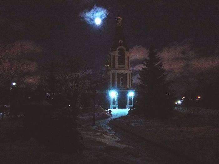 вечерняяпрогулка🌆😏 No People Moon Night Outdoors Midnight Winter