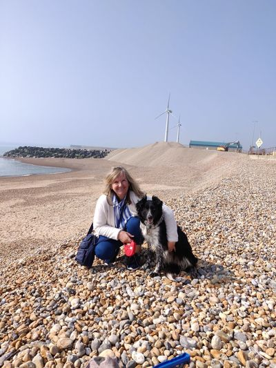 Me And My Dog Sitting Beach Sea Clear Sky Sky Pebble Sand Pebble Beach