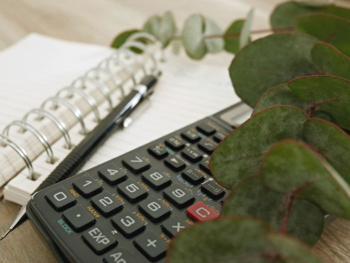Close-up of leaves with calculator and book on table