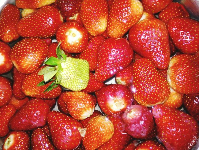 Beauty In Nature Photooftheday Strawberry Green Plant Fruit Red Freshness No People Food Close-up Strawberries Backgrounds Green Color Huaweicamera Green Strawberry Red Strawberries Healthy Eating 😍❤️