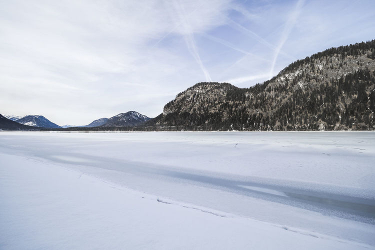 Sylvensteinsee, Hiking Bavaria Beauty Blue Cold Temperature Germany Hiking Lake Lake View Landscape Nature No People Outdoors Ski Snwo Winter Wonderland Wintertime