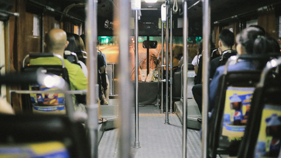 bus in Thailand Night Bus Thailand Train - Vehicle Real People Transportation Passenger Public Transportation Lifestyles Women Subway Train Men Indoors  One Person People Day Adult Adults Only