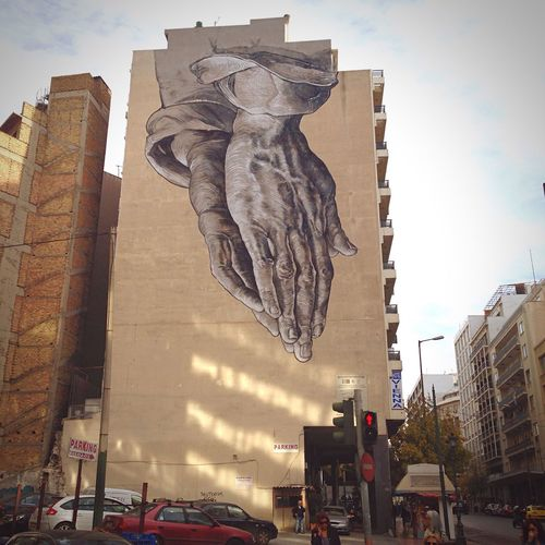 Gods Hands Graffity Street Art/Graffiti Knuckles Athens, Greece Greece