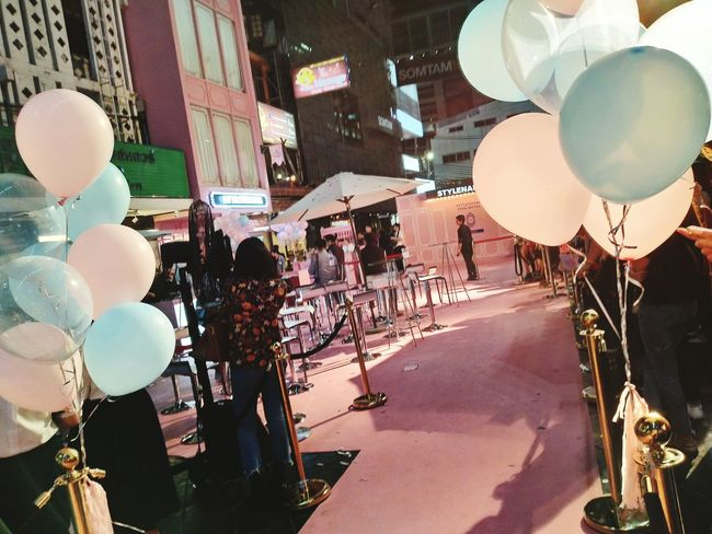 In celebration with Balloon is pink and blue colour. Siamsquare arts culture and entertainment People Outdoors Crowd large group of people Night Carpet ts EyeEmNewHere