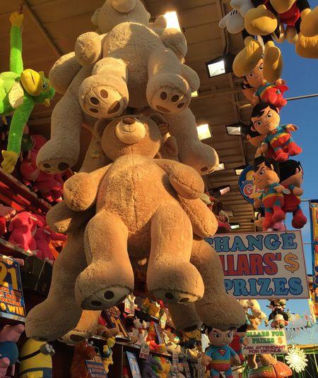 Large Group Of Objects Hull Fair Fairground Fairground Stall Children's Prizes Soft Toys Giant Teddy Bear Fun Fair