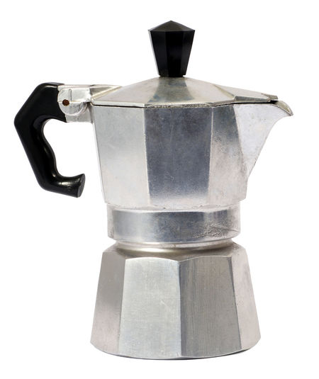 Italian caffettiera coffee pot isolated on white background Beverage Household Isolated Machine Percolator Caffettiera Coffee - Drink Coffee Maker Coffee Pot Drink Drinking Glass Drinnen Frühling, Draussen Winter... Espresso Maker Italian Kitchenware Metal Objact Pot Preparation  White