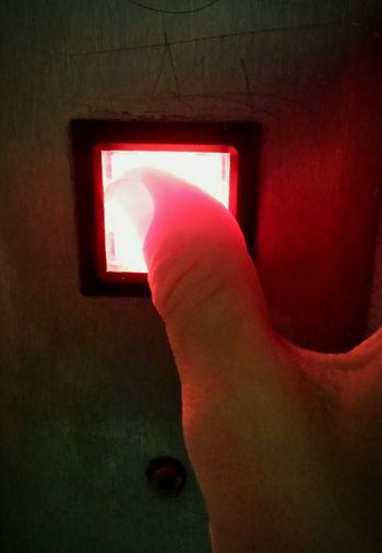Red Part Of Close-up Vibrant Color Hand Button Pressing Buttons Red Light Light And Shadow Light The Color Of Technology