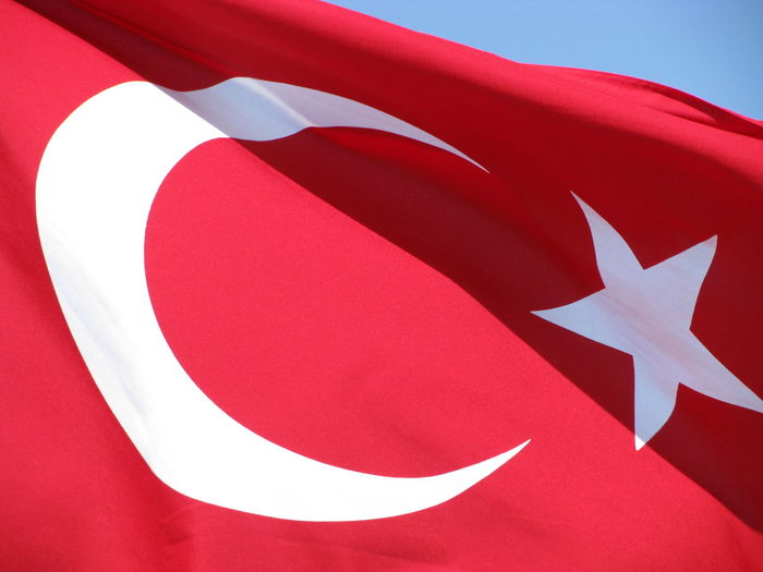 Low Angle View Of Turkish Flag