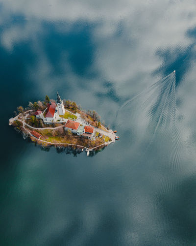 Nature No People Bled Bled Lake Slovenia Slovenia Drone  Dronephotography Drone Photography Droneshot Drones Birdview Lake View Island Life Island View  Church Architecture My Best Photo Springtime Decadence