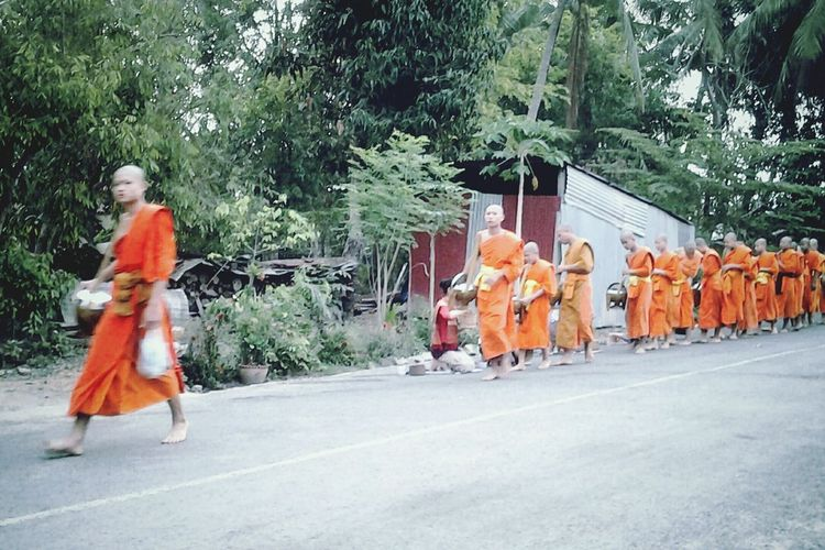 Monks ALMS Luang Prabang Laos Street Street Photography Travelshots Orange Robes Urbanlife Countryside Feel The Journey